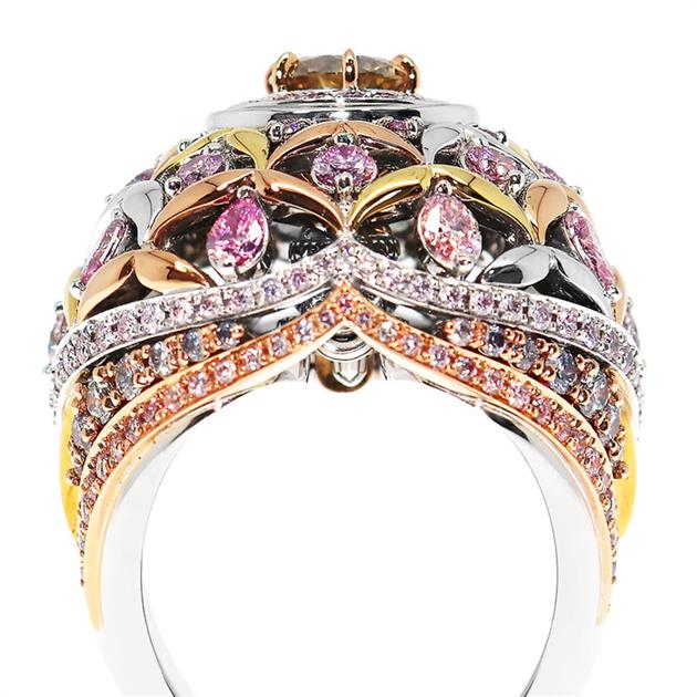 Comprising of 673 pink, white, yellow, blue and champagne Argyle diamonds and 237 grams of Rio Tinto gold, Calleija