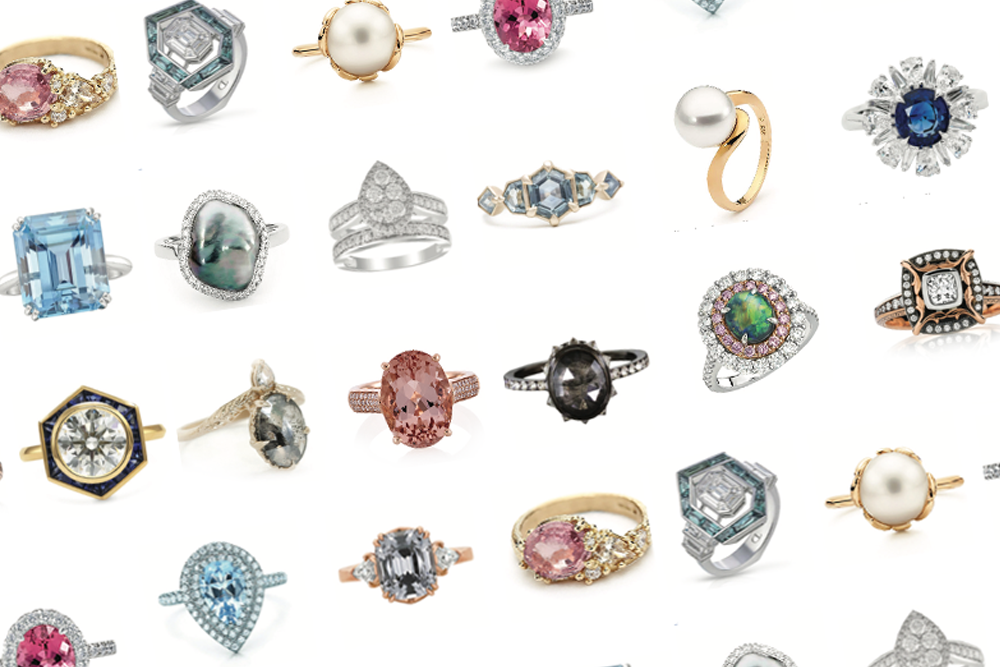 Engagement rings are bolder than ever before, with a growing trend for less traditional center stones like morganite, sapphire, aquamarine and pearl.