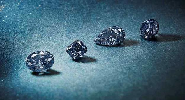 A selection of blue diamonds from the 2021 Once In A Blue Moon collection, which will be offered alongside the 2021 Argyle Tender. Source: Rio Tinto