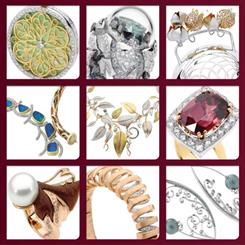 A selection of finalists' designs for the 2012 JAA Australasian Jewellery Awards.