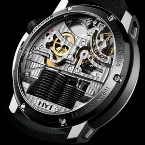 Back view of the H1 Hydro Mechanical Watch that shows the inner workings.