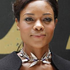 Naomie Harris at the Skyfall premier wearing Jordan Askill's swallow necklace.