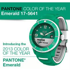 Ice-Watch and Pantone's collaboration, featuring 2013 Colour of the Year, Emerald.