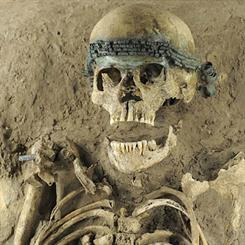 A Middle Bronze Age woman's skeleton excavated in a block. Image Credit: Daily Mail/Andrea Horentrup
