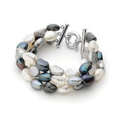 Ikecho Pearl bracelet- white, black and grey Keshi pearls