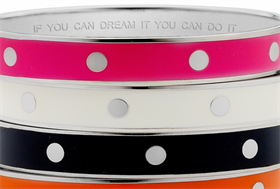 The bangles are inscribed with catchy sayings.