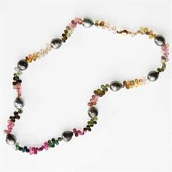 Zever's multi-coloured tourmaline and pearl necklace