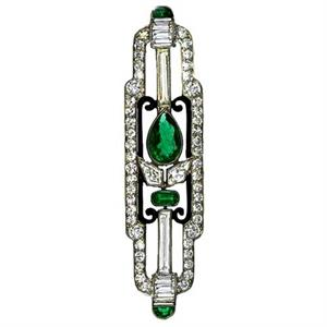Cartier platinum, diamond and emerald brooch