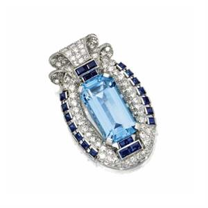 Cariter aquamarine, sapphire and diamond brooch, 1935
