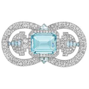 Cartier diamond and aquamarine brooch, 1935