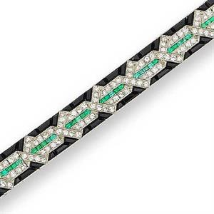 Van Cleef & Arpels black onyx, diamond and emerald bracelet, 1925