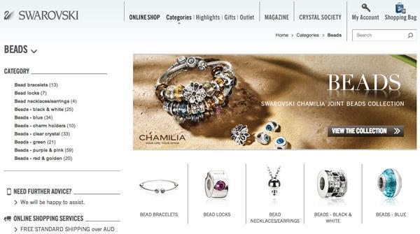 Swarovski showcases Chamilia jewellery on its e-commerce site