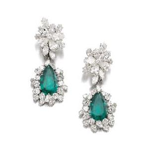 A pair of emerald and diamond Bulgari earrings from 1964 sold for CHF 293,000 (A$309,000)