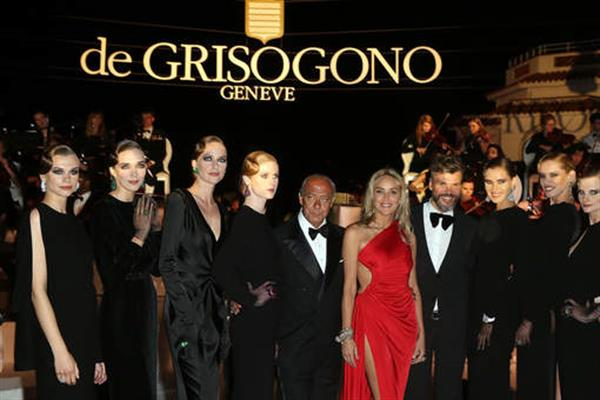 Sharon Stone, Fawaz Gruosi and models at the de Grisogono party