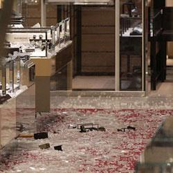 The scene of the smash-and-grab robbery. Image source: Daily Mail