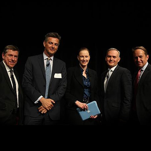 (L-R): Coles MD Ian McLeod, Super Retail Group CEO Peter Birtles, Leigh Sales, Woolworths MD Tjeerd Jegen, Bunnings MD, ANRA chairman John Gillam. (Photo: Peter Braig)