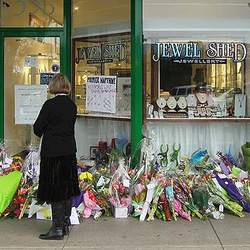 Floral tributes were laid at the front of the store over the weekend