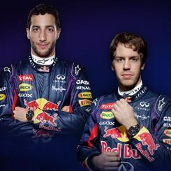 Infiniti Red Bull Racing drivers (L-R) Daniel Ricciardo and Sebastian Vettel