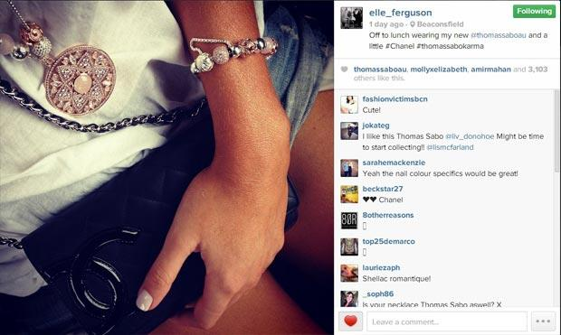 Elle Ferguson posts the Thomas Sabo launch party on her Instagram account