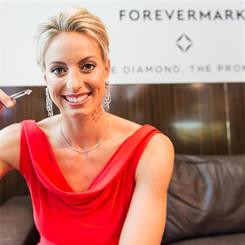 Australian Diamond's netball captain Laura Geitz was on hand to display the diamond to guests