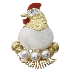Cartier replica of the chicken brooch, which featured a blister pearl and three cultured pearls from 1957