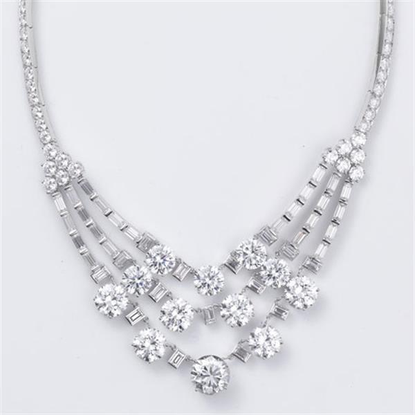 Cartier replica of necklace with three rows of diamonds from 1953