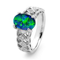 Black opal ring from Opals Australia