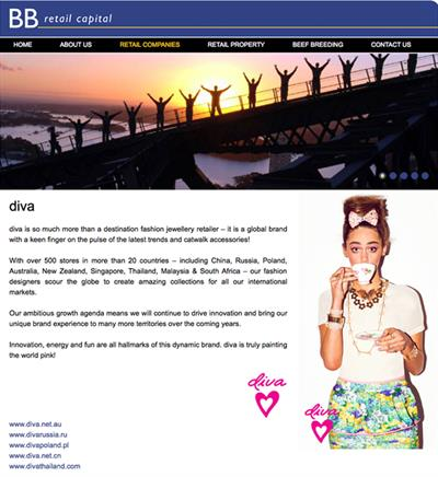 Diva page from the BB Retail Capital corporate website