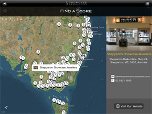 The app allows customers to find their nearest Showcase Jewellers store