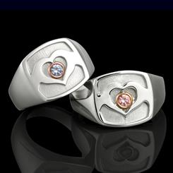 A limited edition Australian Marriage Equality ring collection features Argyle blue or pink diamonds