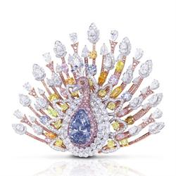 Graff Peacock brooch made with 120.81-carats of coloured and colourless diamonds, worth $100 million