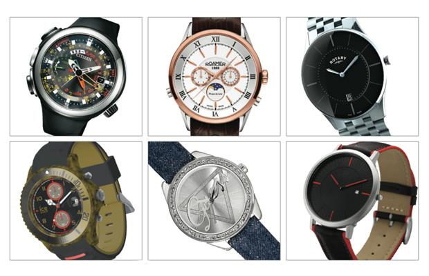 Clockwise from top left: Citizen- Eco Drive Altichron Cirrus, Moda- Roamer Superior Moon Phase, Instyle- Rotary, Time Supply- Danish Design, Desgina Accessories- Guess and Ice-Watch