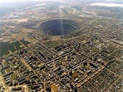The Mir diamond mine in Seberia, a source for Russian cut diamonds