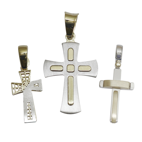 Sydney Gold River's new two-tone cross pendants