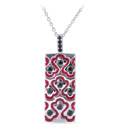 Miabelle's latest enamel pendant set with black onyx