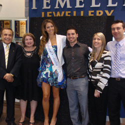 George, Diana, James, Kristin and John Temelli celebrate with Miss Universe Australia's 2010 winner, Jesinta Campbell