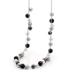 New from Ikecho Pearls, this necklace is laced with mixed pearls