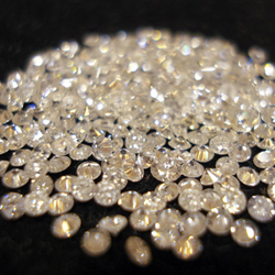 Loose diamonds mined at De Beers mine in Botswana