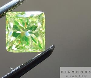 A greenish-yellow diamond benefiting from very strong fluorescence