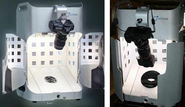 Left: ViBox with the doors open, Canon camera and figure of eight diamond movement gimbal. Right: Doors partly closed, with a stereo splitter and a 360-degree rotating stage for the diamond