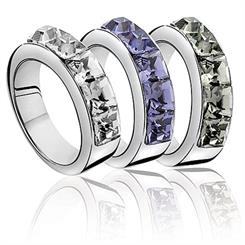 Featuring Swarovski crystal elements, the rings feature three fresh colours