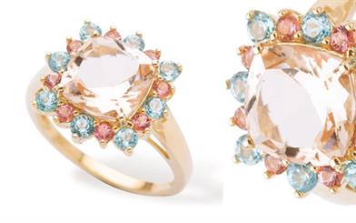 Gerrim's morganite and tourmaline ring