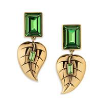 Leaf earrings, green
