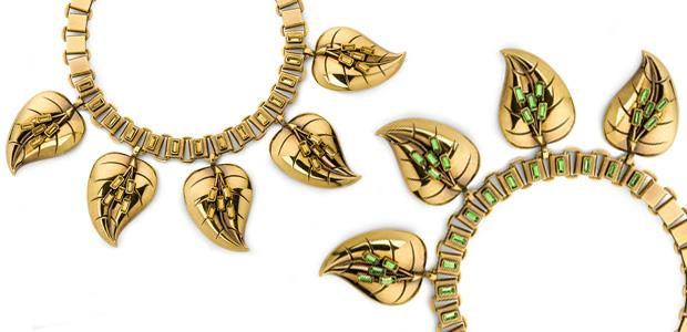Leaf necklace, gold and green