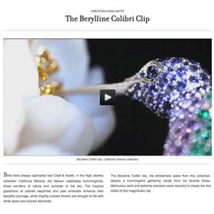 Van Cleef & Arpels includes beautiful videos of its pieces alongside product information
