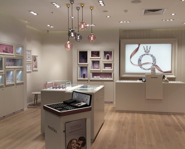 The new Pandora store design features upgraded fixtures and a more spacious layout