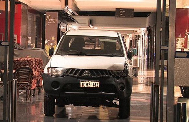 The suspect reportedly drove this car through the shopping centre before ramming into the Michael HIll jewellery store. Source: ABC News/Twitter
