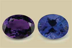 Amethyst (left), tanzanite (right). Image courtesy of Brendan McCreesh, O'Neils Affiliated