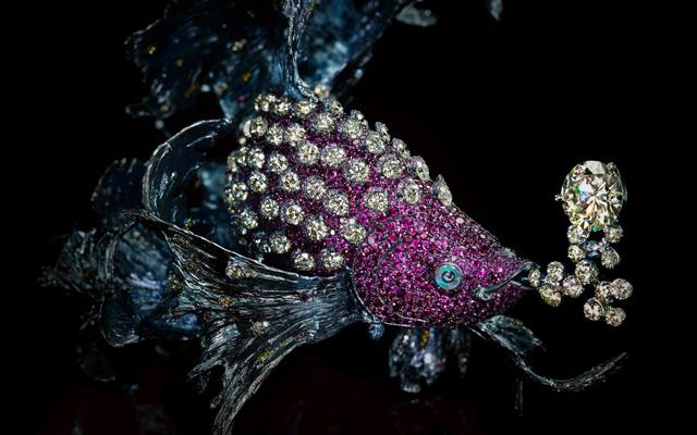 Chinese New Year mystical fish brooch by artisan jeweller, Wallace Chan
