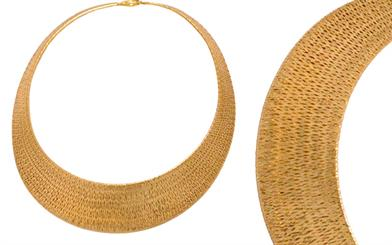 Paul Shadiac Imports' gold woven mesh collier